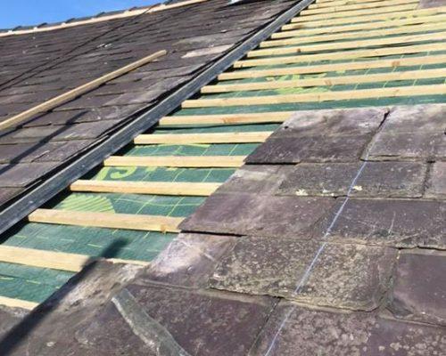 Recent Reroof – Roofing services Barnoldswick Aluminium seamless guttering – Barnoldswick